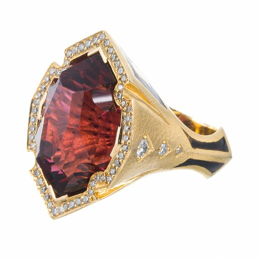 38 Carat Red Tourmaline Enamel Diamond Ring Signed Neiman Marcus