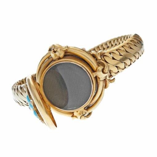 Victorian Turquoise Diamond Gold Rare Locket Bracelet