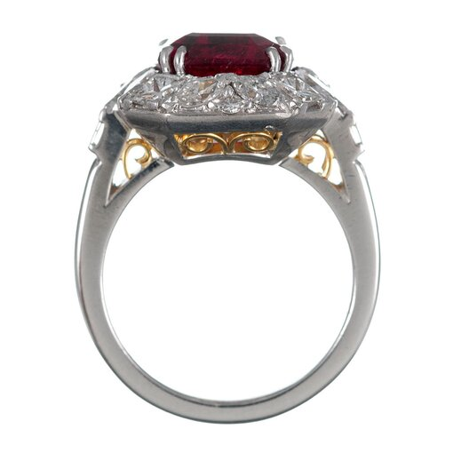 3.98 Carat Rubellite & Diamond Cluster Ring