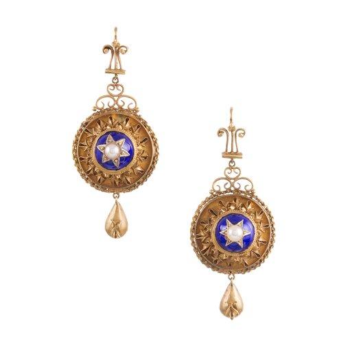 Fine Victorian Drop Earrings with Enamel & Pearl Star Motif