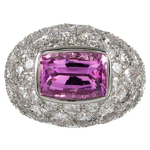 5.91 Carat Pink Sapphire & Diamond Dome Ring