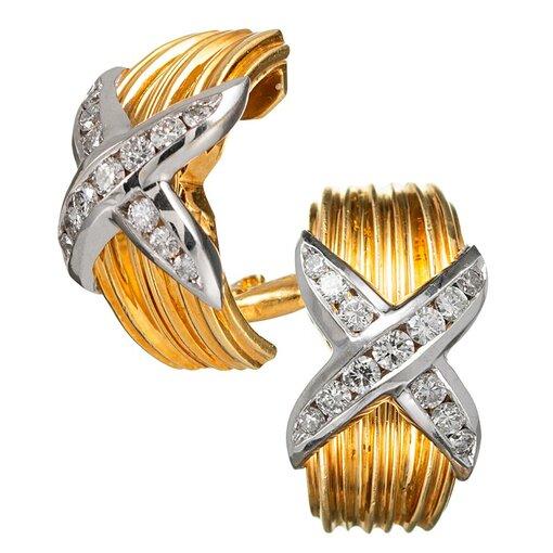 """Diamond """"X"""" Hoop Earrings"""
