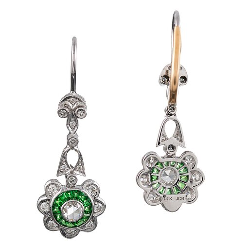 Floral Motif Diamond & Tsavorite Drop Earrings
