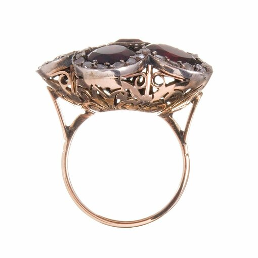 Victorian Garnet and Diamond Cluster Flower Ring