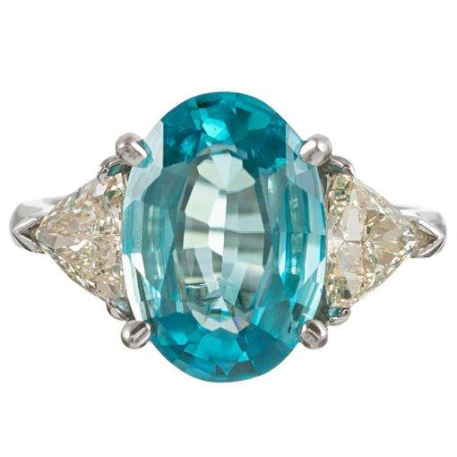4.45 Carat Blue Zircon and Diamond Ring