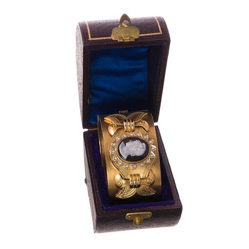 Victorian Yellow Gold & Onyx Cameo Bangle