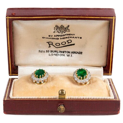 Oval Emerald & Diamond Cluster Stud Earrings