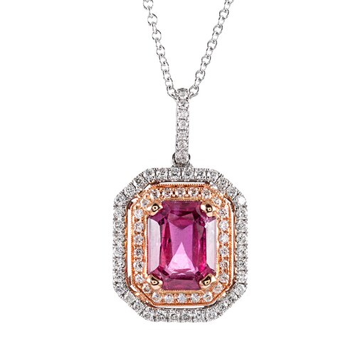 Pink Sapphire & Diamond Cluster Pendant, signed Simon G