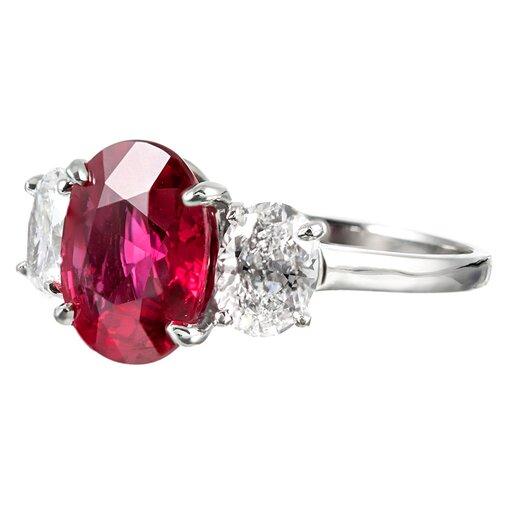 3.01 NO HEAT Ruby and E/Si2 Diamond Ring