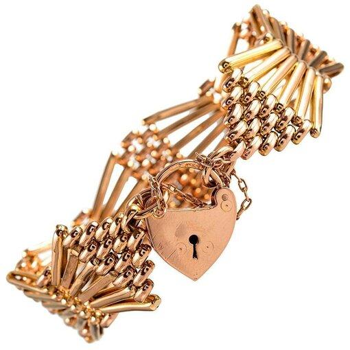 Stylized Victorian Rose Gold Gate Bracelet