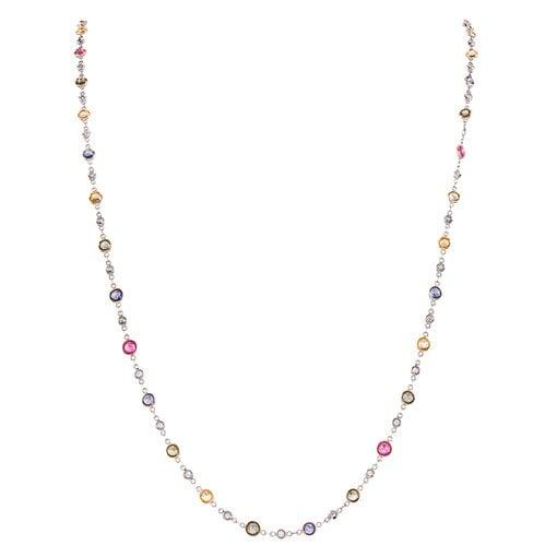 Platinum, Diamond & Natural Sapphire Chain