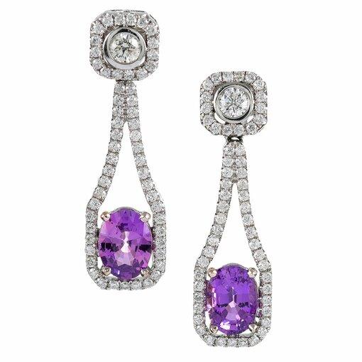 Pink Sapphire and Diamond Drop Earrings