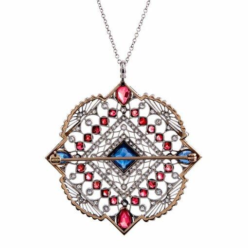 Large Edwardian Ruby Sapphire Diamond Gold Pendant