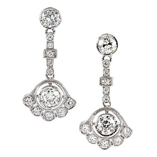 """Art Deco Style Diamond """"Fan"""" Drop Earrings"""