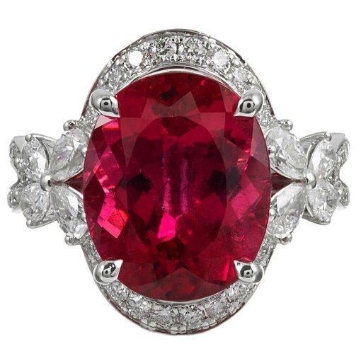 7.15 Carat Pink Tourmaline & Diamond Ring, Signed Simon G.