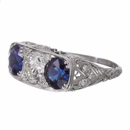 Art Deco Sapphire Diamond Platinum Filigree Ring
