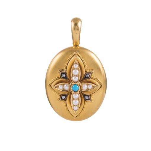 Oversized Victorian Locket with Turquoise, Diamonds and Pearls