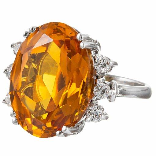 22.03 Carat Citrine & Citrine Diamond Ring