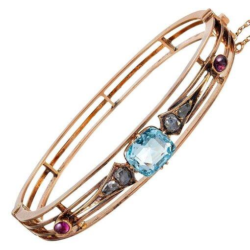 Victorian Americana Bangle Bracelet with Aquamarine, Rubies & Diamonds