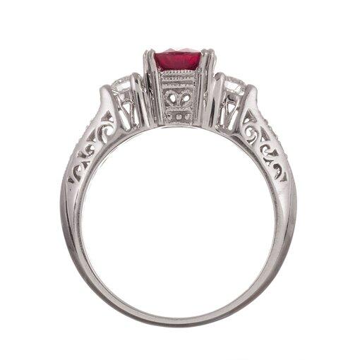 1.40 Carat Ruby & Diamond Three Stone Ring