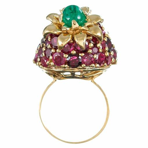 "Mid-Century Ruby & Emerald ""Strawberry"" Ring"