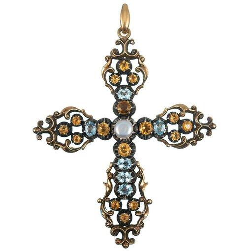 Large Georgian Gemstone Cross