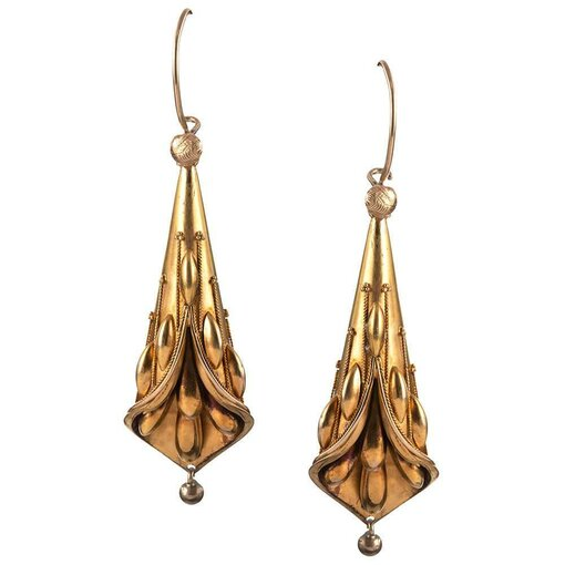 Golden Victorian Calla Lily Earrings