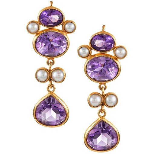 Amethyst & Pearl Drop Earrings