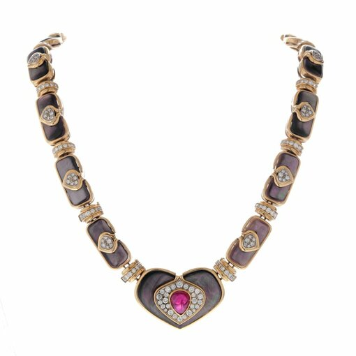 HARRY WINSTON Ruby Diamond Black Mother-of-Pearl Necklace