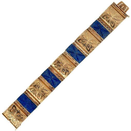 Engraved Lapis Bracelet