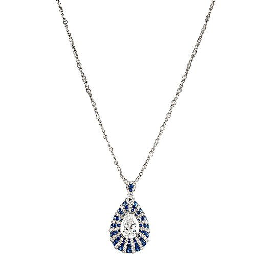 Modern Art Deco Style 2.09 Carat I/Vs2 Pear Diamond and Sapphire Pendant