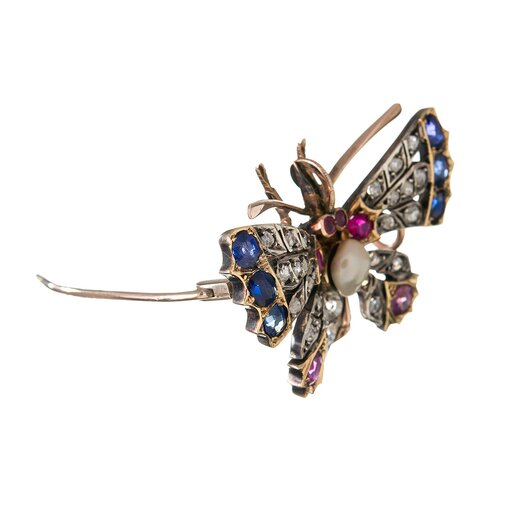 Victorian Pearl Gemstone Silver Gold Butterfly Pin Pendant