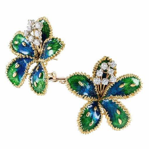 Boucheron Diamond Enamel Flower Earrings