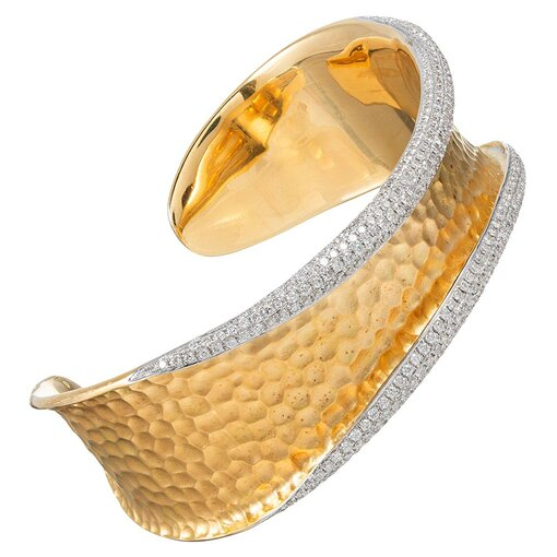 Hammered Finish Cuff with Rolled Diamond Edges