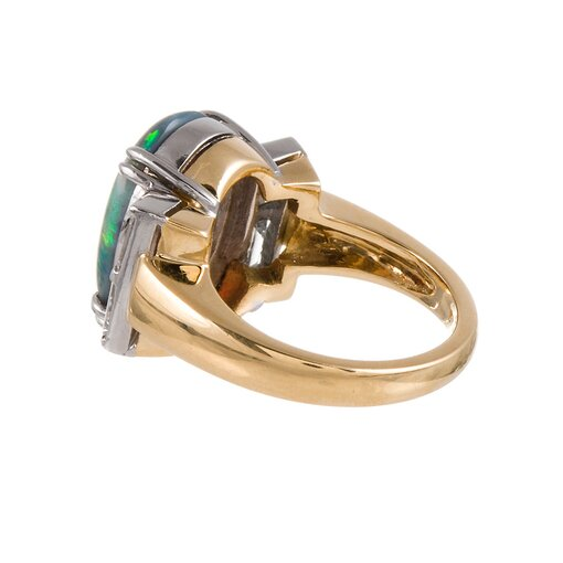 5 Carat Black Opal Diamond Ring