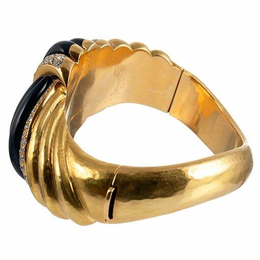 Knotted Onyx & Diamond Bangle Bracelet