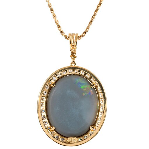 31.30 Carat Lightning Ridge Black Opal & Diamond Pendant