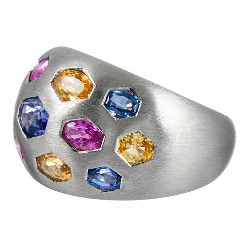 Multi-Colored Sapphire Dome Ring
