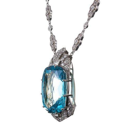 51 Carat Aquamarine & Diamond Necklace