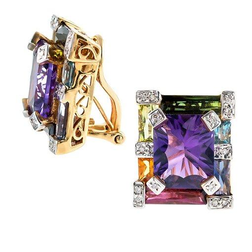 Geometric Rainbow Gemstone & Diamond Earrings