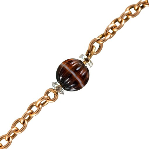 """Victorian Banded Agate """"Albert"""" Watch Chain"""