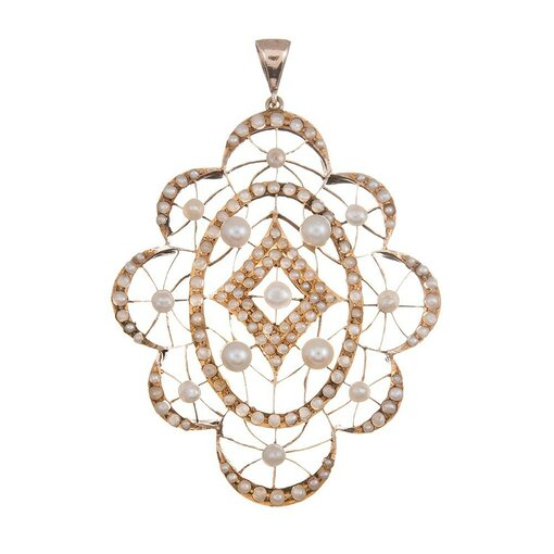 Large Victorian Lacy Golden Pearl Pendant