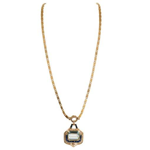 34.60 Carat Aquamarine, Sapphire & Diamond Pendant