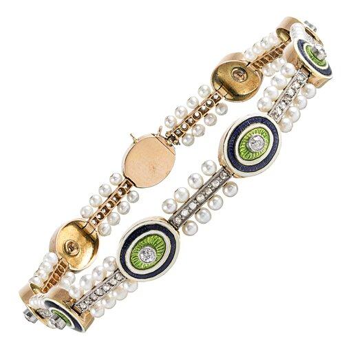 Edwardian Diamond, Enamel & Pearl Bracelet
