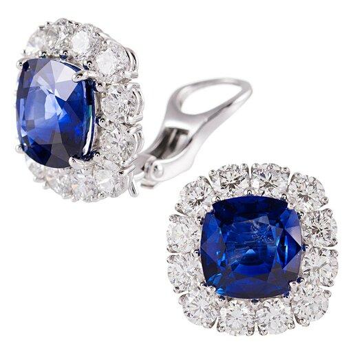 9.28 Carat Cushion Ceylon Sapphire & Diamond Cluster Earrings