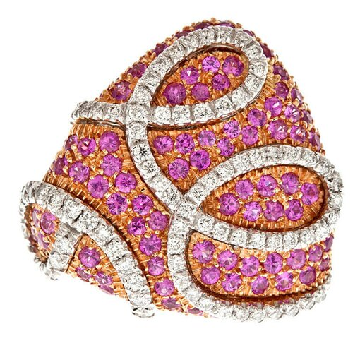 ORO TREND Pink Sapphire Diamond Rose Gold Designer Ring