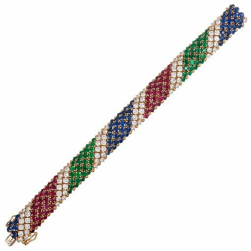 "French Gemstone ""Barber Pole"" Bracelet"