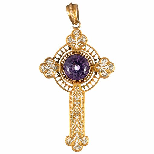 Victorian Amethyst & Enamel Cross Pendant