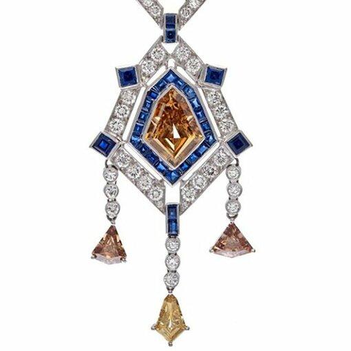Art Deco Sapphire Champagne Diamond Platinum Necklace