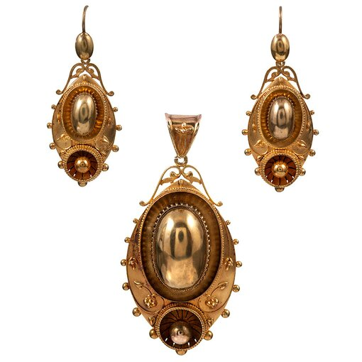 Boxed Victorian Bangle, Earrings & Pendant Suite